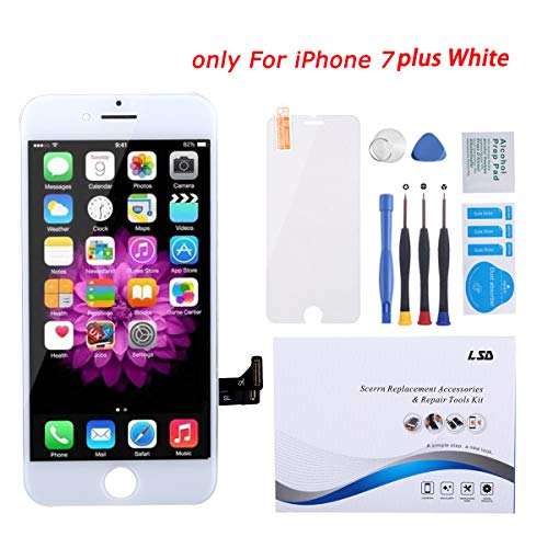 for iPhone 7 Plus Screen Replacement 5.5' White LCD Display Touch Screen Digitizer Frame Assembly Full Set with Premium Glass Screen Protector and Free Repair Tool Kits for iPhone 7 Plus LCD White