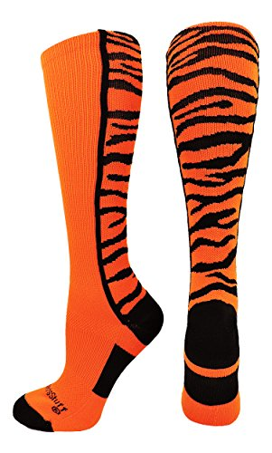 MadSportsStuff Crazy Socks with Safari Tiger Stripes Over The Calf Socks (Orange/Black, Small)