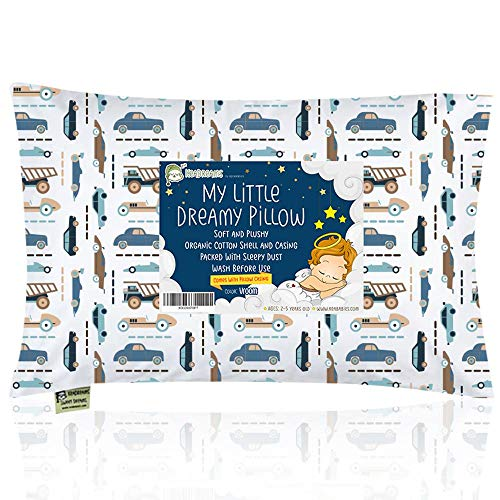 Toddler Pillow with Pillowcase - 13X18 Soft Organic Cotton Baby Pillows for Sleeping - Machine Washable - Toddlers, Kids, Boy, Girl - Perfect for Travel, Toddler Cot, Bed Set (Vroom)