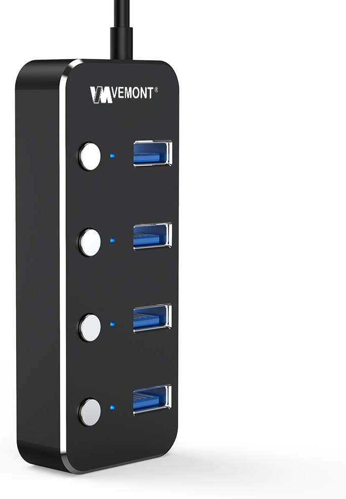 USB Hub 3.0 Splitter, VEMONT 4-Port USB hub ,Aluminum USB Data Hub with Individual On/Off Switches and LED Lights for Laptop, PC Computer (4ft/120cm) (4port)