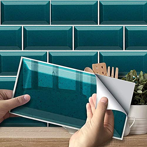 3D nuevo turquesa pegatinas de pared creativas pegatina para azulejos papel pintado impermeable y resistente a los arañazos para cocina pared escaleras muebles escalera decoración del hogar de bricol