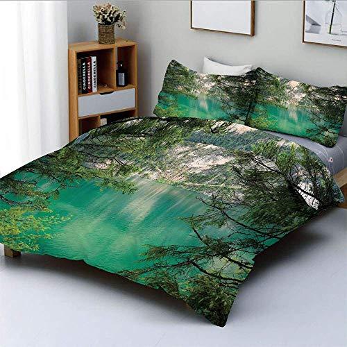 Set copripiumino, Lago di Montagna Lago di Braies in Italia Vista sulle montagne con alberi di pino freschi Set di biancheria da letto decorativo a 3 pezzi con 2 federe di cuscino, avorio verde acqua