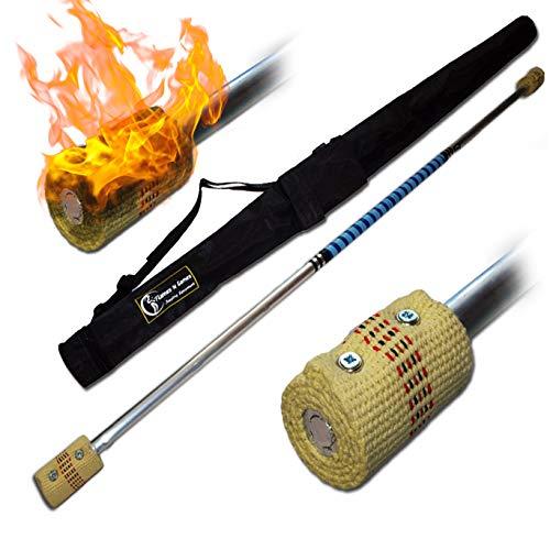 Pro Bâton de Contact (Inflammable) (140cm/2x65mm Meche) + Flames N Games Sac de Voyage! Staff de Contact AKA Contact Fire Staff Inflammable Professionnel Bâtons Indien, Medium Flammes!