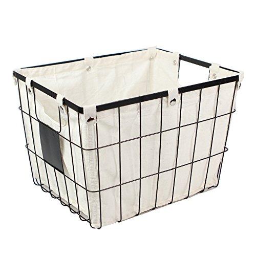 WM Homebase Aufbewahrungskorb aus Metall Metallkorb Aufbewahrungsbox Korb mit Griffen 40,5x32,5x28 cm
