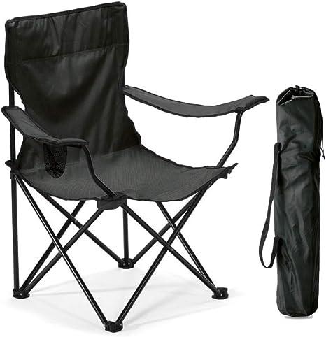 Publiclick Silla Plegable Camping Cuerpo de Metal Tubular. En Resistente poliéster 600D Disponibles en Azul y Negro (Negra)