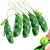 Anpole Fidget Bean Toy,5 Pack Squeeze-a-Bean Edamame Keychain Keyring Extrusion Bean Pea Soybean Stress Relieving Chain Toys (5 pcs)