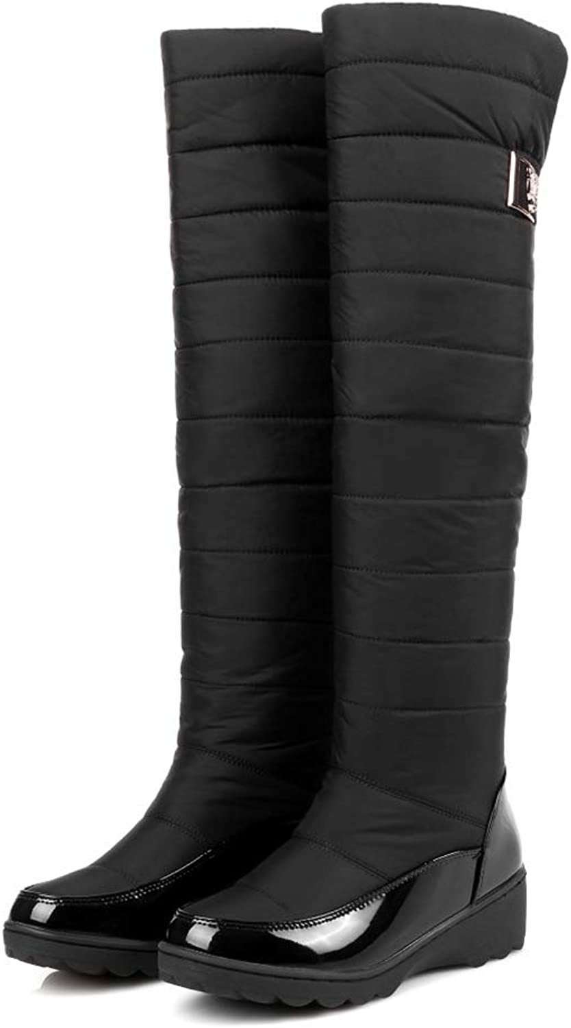 Hoxekle Women Winter Warm Waterproof Snow Boots Platforms Wedges Heels Fur Cotton shoes Over-The-Knee Long Boots