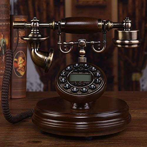 Reloj de Pared Decorativo Teléfono Vintage de Madera Maciza Teléfono Fijo Retro Europeo con identificador de Llamadas Teléfono Manos Libres retroiluminado para la decoración de la Sala de es