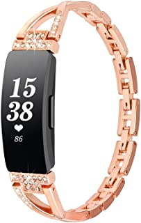 Compatible with Fitbit Inspire/Inspire HR Bands Women Jewelry Strap Metal Bling Diamond Bracelet Watchband (C-Rose Gold)
