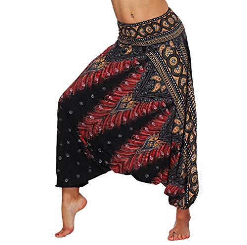 EUFANCE Pantalones De Estilo Hippie De Los Mujer De La Vendimia del Estilo Nacional Pantalones Holgados Bombachos Ocasionales del Hippie Negro Talla única
