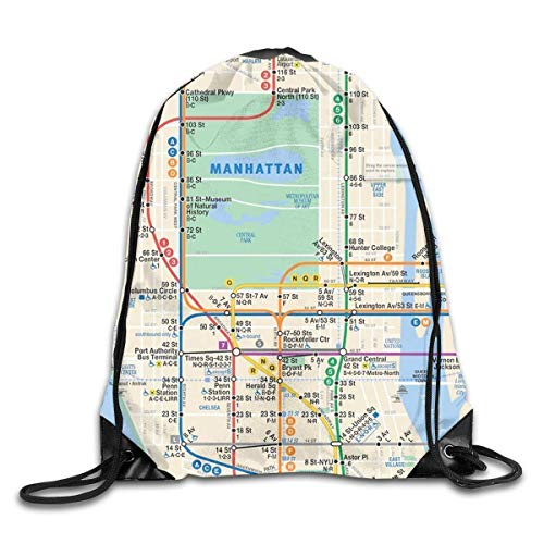 Etryrt Turnbeutel/Bedruckte Sportbeutel, Drawstring Backpack MTA Subway Map New York Manhattan Phone Case Gym Sport Bag Drawstring Bag Backpack Draw Cord Bag Men Women Gym Sport Yoga Dance Travel