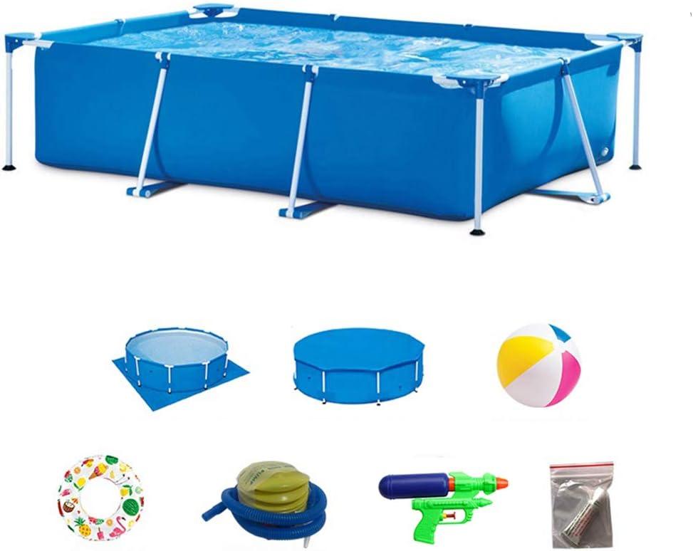 DEAR-JY Piscinas Desmontables,260x160x65CM,Protección del Medio Ambiente PVC,Piscina con Marco Rectangular Azul,Piscina Infantil Infantil Interior y Exterior para Adultos de Gran Capacidad