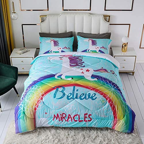 Cute Rainbow Unicorn Printed Comforter Set Cartoon Floral Letters Bedding Sets for Girls Teens product image