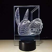 Dtcrzj Oo Led Usb新しいテーブルランプ馬頭3DランプLed 3D照明器具Ledナイトライト