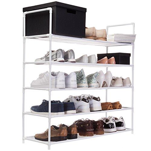 GOODS+GADGETS XXL Schuhregal 91 x 88 x 30 cm Schuhablage mit 5 Ablagen für 25 Paar Schuhe als Schuhschrank und Schuhständer - weiß