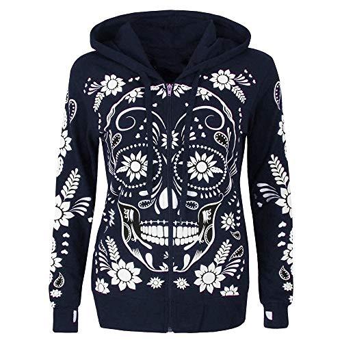 KEERADS Women Hoodie Sweatshirts Langarm-Shirt mit Totenkopf-Print und Reißverschluss und Kapuze Damen Pullover Kapuzenpullover
