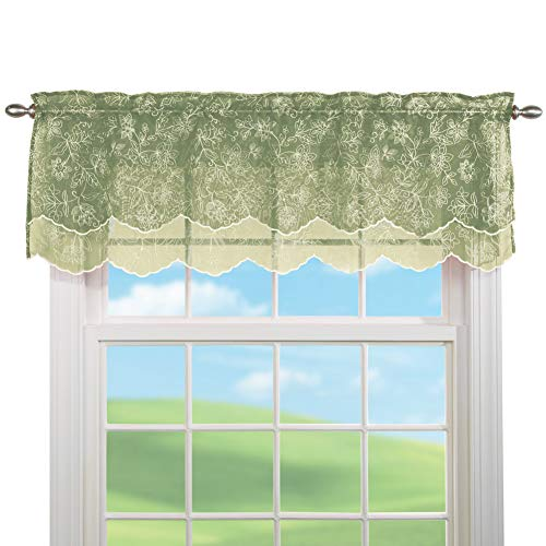 Collections Etc Stylemaster Renaissance Home Fashion Reese Embroidered Sheer Layered Scalloped Valance, 55-Inch by 17-Inch, Spring