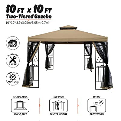 suna outdoor 10x10 Ft Outdoor Gazebo Steel Frame Two-Tiered Top Canopy, X Shape Decor Gazebo with Adjustable Netting for Garden Backyard, Tan