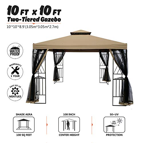 suna outdoor 10x10 Ft Outdoor Gazebo Steel Frame Two-Tiered Top Canopy, X Shape Decor Gazebo with Adjustable Netting for Garden Backyard, Tan