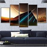 GUTONGHAO Wandkunst Bilder Moderne Leinwand Wohnkultur Für Wohnzimmer Gerahmte 5 Stücke Pyramide Mond Gemälde Modularwkl