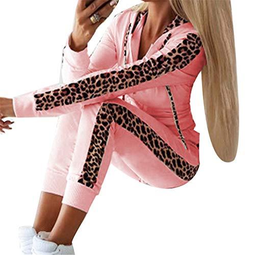 Hoodie Jogginganzug für Damen, Frauen Leopard Freizeitanzug Zweiteiler Traininganzug Sportanzug Langarm Kapuzenpullover + Lange Sporthose XL Xbao