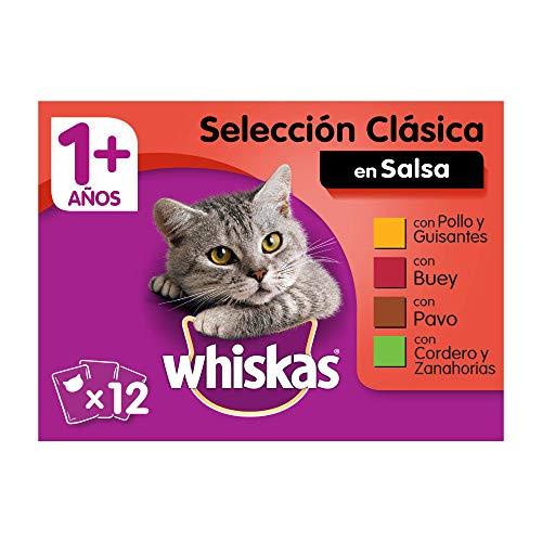 Whiskas Comida Húmeda para Gatos Selección Carnes en Gelatina, Multipack (4 cajas x 12 bolsitas x 100g) 🔥