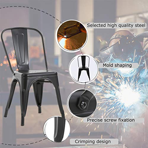 Metal Dining Chairs Set of 4 Indoor Outdoor Chairs Patio Chairs Kitchen Metal Chairs 18 Inch Seat Height Restaurant Chair Metal Stackable Chair Tolix Side Bar Chairs 330LBS Weight Capacity