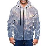 Beautiful Ice Pattern And Sunlight On Winter Men's Full Zip Pockets Hoodie Q9650