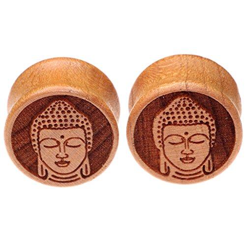 Oasis Plus Buddha Organic Wood Tunnels Double Flared Ear Stretcher Saddle Plugs Gauge 10mm