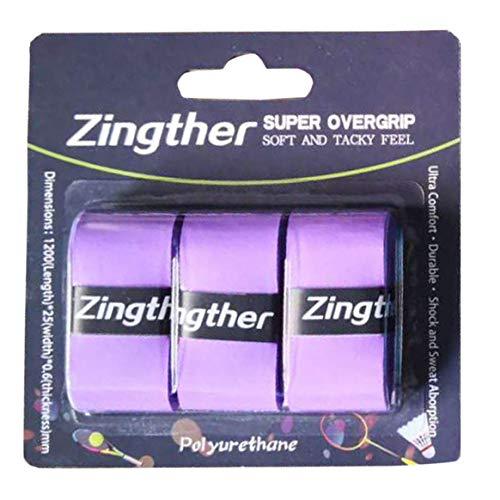 Zingther(ジングザー) プロフェッショナル プレミアム 超粘着 オーバーグリップ テニスラケット/バドミントンラケット/スカッシュ/ラケットボール/ピックルボールパドルハンドル用 トップグレードの快適なグリップ感 3 Grips パープル
