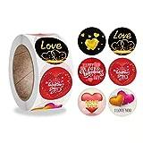 Pegatinas del Día de San Valentín Pegatinas Corazones Papel Etiquetas Adhesivas Stickers Decoración Cajas Sobres Bolsas Regalos Tarjetas Fiesta San Valentín Boda(500 PCS)
