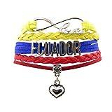 Angepasste Unisex Leder Leder Metall Flagge Armband Armband Manschette (Ecuador)