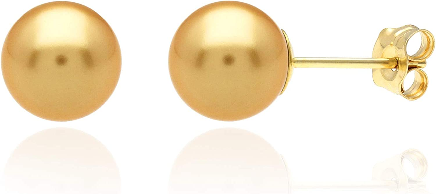 14K Yellow Gold Yellow Crystal Pearl Ball Stud Earrings 4mm-12mm