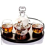 Whiskey Globe Decanter Sets for Alcohol by Kemstood – Newest Large Etched World Globe Decanter for Men and Women with Wood Base – Personalized Gift Set with 4 Glasses for Liquor Scotch Bourbon Brandy