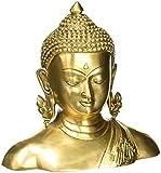 ShalinIndia Escultura arredamento Buda Estatua Cabeza de Buda de latón Metal Arte 16,5cm