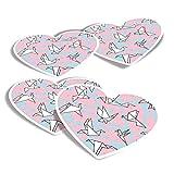 Pegatinas de vinilo con forma de corazón (juego de 4) – Origami Birds Pink Art Artista, calcomanías divertidas para portátiles, tabletas, equipaje, reserva de chatarra, frigoríficos #45955
