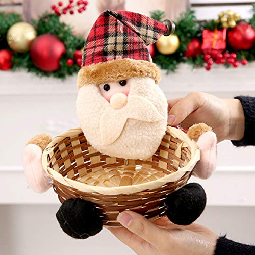 FITORON Christmas Candy Storage Basket Decoration Santa Claus Storage Basket Gift Decorations Outdoor Tree Table Lights Blue Home Set Silver Wall Ornaments Party Games and Activitie (D)