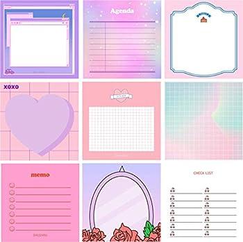 Cute Korean Memo Pad Sets for Journaling - 900 Sheets  9 Designs x 100 sheets ea  / Assorted Paper Notes - Kawaii Ins Colorful