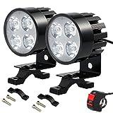 Faros Delanteros de Motocicleta 2 Piezas Faros Auxiliares de Moto 4 Lámparas LED Luces Delanteras de Motocicleta 12V-85V con Interruptor de 7/8 '(22 mm) Ajustable