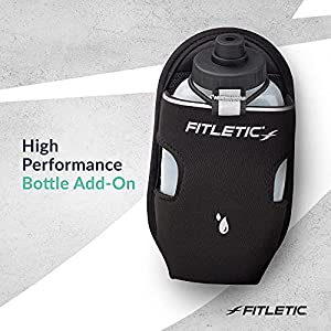 Fitletic Water Bottle Holster 8 Oz Black Pair | Running Belt Add-on for Triathlon, Trail, Ironman, Hiking, Walking, and Sport | Running Hydration | Sports Water Bottle | AD08-01-P