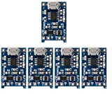 TP4056 5V 1A Micro USB 18650 Lithium Battery Charging Board Module TP4056 by HAYATEC (Pack of 5)