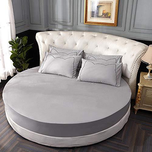 HPPSLT Protector de colchón, con Aloe Vera, (Todas Las Medidas) Cama Redonda de algodón Puro Hotel Gris Claro_2.0m + 2 Fundas de Almohada