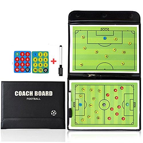 CHSEEA Abatible Pizarra Táctica de Fútbol, Carpeta Táctica Magnéticas para Entrenador Entrenamiento de Fútbol con Imanes Lapiceros y Goma de Borrar #1