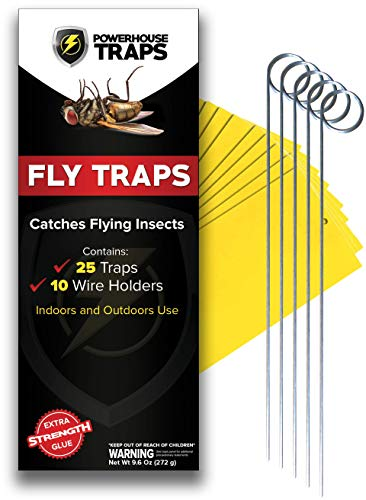 Double Sided Yellow Sticky Fly Traps, 25 Pieces with 10 Wire Holders, Indoor Plants and Outdoor use, Flying Insect Mosquitos Gnat Fruit Fly Catcher, Disposable, Extra Strength by Powerhouse Trap