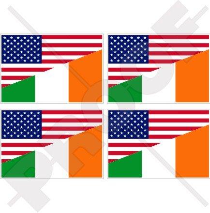 USA United States of America et drapeau de l'Irlande, American et irlandais 5,1 cm (50 mm) Vinyle Bumper-helmet Stickers, décalcomanies X4