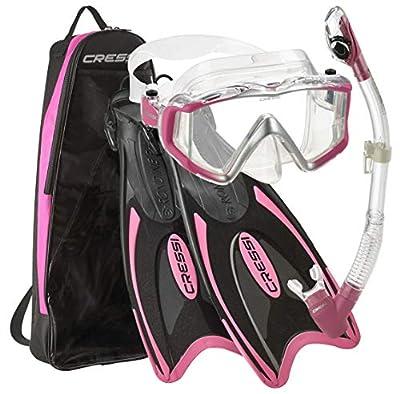 Cressi Palau Traveling Premium Snorkel Set, Panoramic Wide View Adult Diving Snorkeling Mask, Desert Dry Snorkel, Adjustable Fins, Travel Gear Bag - Metallic Pink - Medium/Large