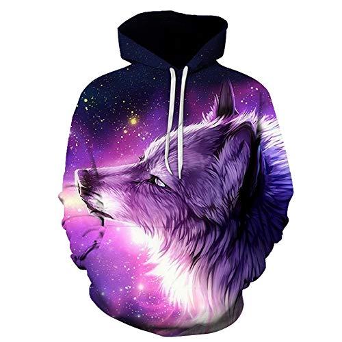 XLGJWY 3D Drucken Kapuzenpullover Wolf Hoodie 3D Herren und Damen Sweatshirts Fashion Herbst Sportswear Harajuku Mäntel Casual Animals Series Pullover