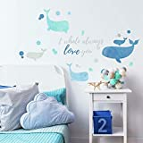 RoomMates I Whale Always Love You Peel And Stick Giant Wall Decals,Blue,9' x 17.375'