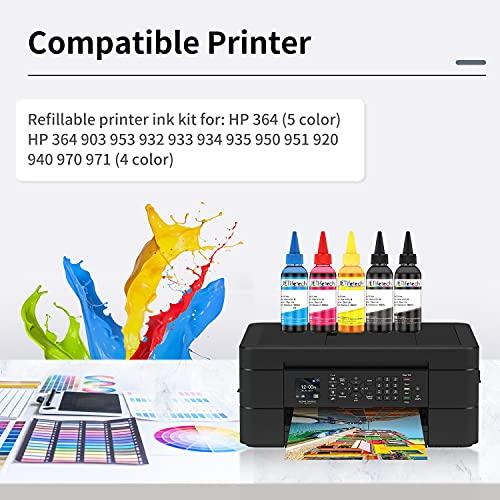 JETlifetech 5 colores Universal Kit de recarga de tinta para HP Cartuchos de tinta recargables y sistemas CISS, 100 ml por botella de tinta, 5 botellas (negro/negro fotográfico/cian/magenta/amarillo)
