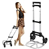 Multi-function Hand Cart, Heavy Duty Aluminum Portable Luggage Trolley Stands with Rubber Wheels